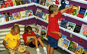 students reading in front of rain gutter book shelves